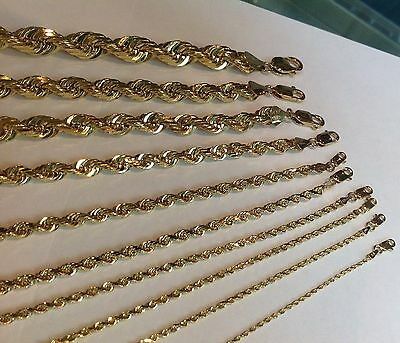 """1.5Mm-10Mm 14K Solid Yellow Gold Women/ Men's Rope Chain Necklace 16""""-30"""""""