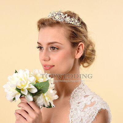 Jewelry Pearl Bridal Tiara Wedding Pageant Crown Veil Headband Hair Accessory