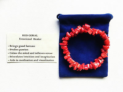 Red Coral Bracelet Gemstone Crystal Chip Beads Stretch 'BUY 3 GET 1 FREE'