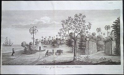 Antique map, A view of the watering place at Tenian
