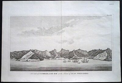 Antique map, A view of Cumberland bay at the island of Juan Fernandes