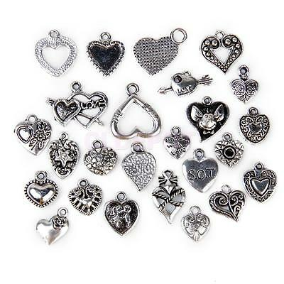 25pcs Alloy Silver Heart Shapes Charms Pendant Beads Findings for Jewelry Making