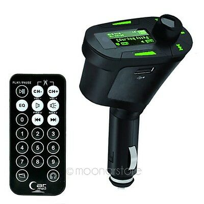 Car Kit Wireless FM Transmitter MP3 Player USB SD MMC LCD Remote For iPhone HTC