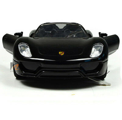 1/28 Scale Black PORSCHE 918 Cabriolet Sport Car Diecast Model SOUND LIGHT 1:28