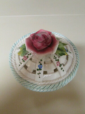 Vintage Porcelain Capodimonte Decorative Dish Basket Attached Lid Flowers Italy