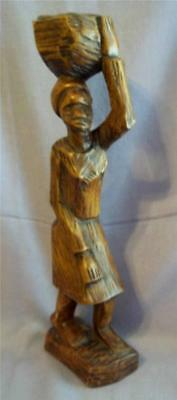 Tall Vintage Carved Wood Native Woman Carrying Basket on Head Figure