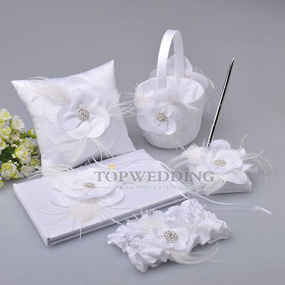 Feather Flower White Wedding Guest Book & Pen Set Ring Pillow Basket Garter Set