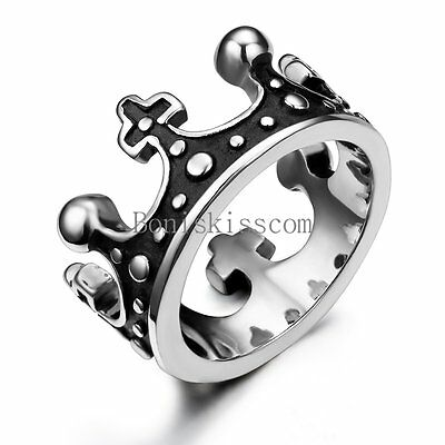Vintage Crown Design Silver Stainless Steel Mens Womens Unisex Ring Size 6-12