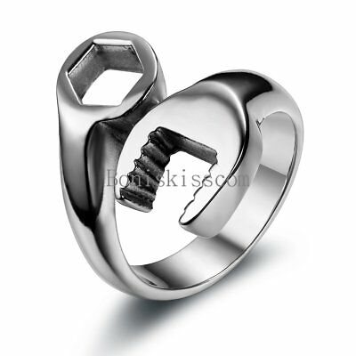 BIKER Motorcycle Mechanic WRENCH Tool Stainless Steel Ring Silver High Polish