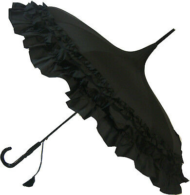 Blooming Brollies Boutique Classic Frilled Pagoda Stick Umbrella - Black