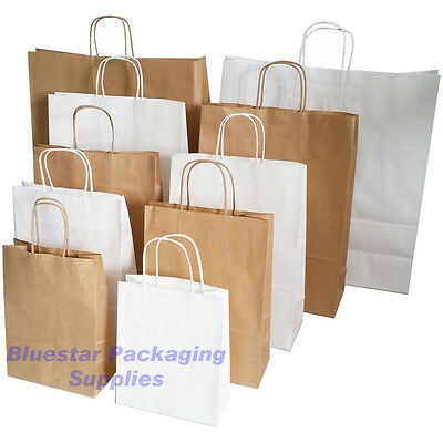 Kraft Strong Twisted Handle Ribbed Brown or White Paper Carrier Gift Bags