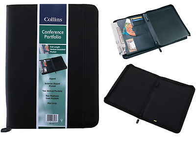 Collins Black A4 Conference Folder Portfolio Faux Leather Zipped Organiser 7018