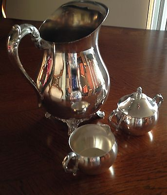 LANCASTER SILVER ON COPPER WATER PITCHER WTIH ICE LIP+ Creamer+ candy