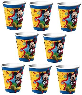 Lot of 8 Disney Mickey Mouse 9oz Paper Cups ~Party Favor Supplies~