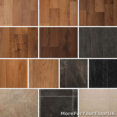 Quality Vinyl Flooring Roll CHEAP, Wood or Tile Effect Kitchen Bathroom Lino 2m