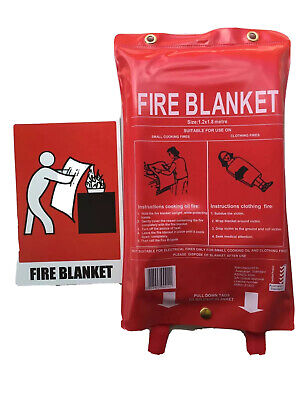 New Fire Blanket Large 1.2 x 1.8 Meter & Sign Free Delivery Australia Wide