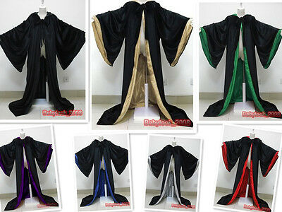New Stock! Black Cape Hooded Cloak Wizard Robes Costumes Lined in 7 Colors Satin