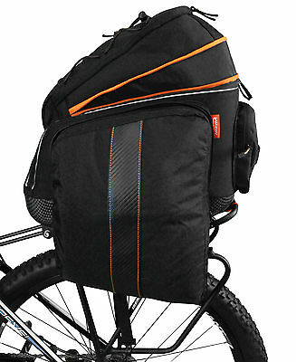Ibera Bike Rear Seat Commuter Trunk Bag w/ Expandable Cycling Panniers NEW BA14