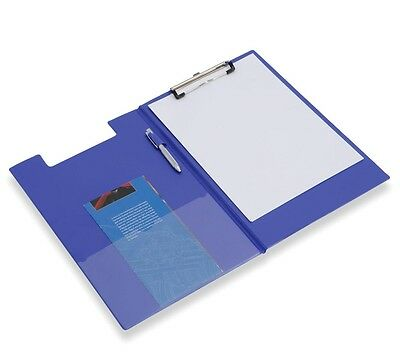 Blue Fold Over Clipboard Foolscap Fits A4 Documents With Pen Holder & Pocket