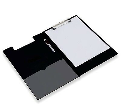 Black Fold Over Clipboard Foolscap Fits A4 Documents With Pen Holder & Pocket