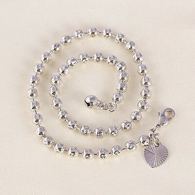 """9K 9ct White """"Gold FILLED"""" Beaded, Heart & Bell ANKLE CHAIN / Anklet 10.6"""" ,Gift"""