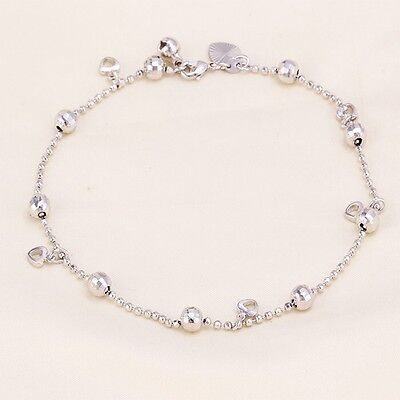 """9K 9ct White """"Gold FILLED"""" Beaded, Hearts & Bell ANKLE CHAIN / Anklet 10.6"""" Gift"""