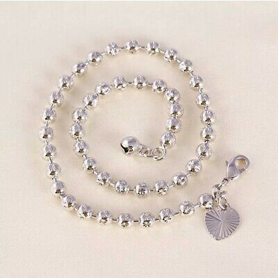 "9K 9ct White ""Gold FILLED"" Beaded, Heart & Bell ANKLE CHAIN / Anklet 10.6"" ,Gift"
