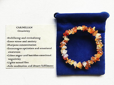 Carnelian Bracelet Gemstone Crystal Chip Beads Stretch 'BUY 3 GET 1 FREE'