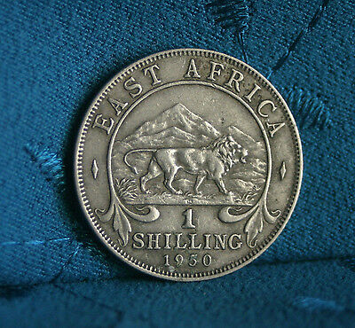 East Africa 1950 1 Shilling World Coin African Lion Mountain
