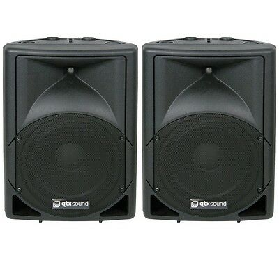 """QTX Sound QS15A 15"""" 1400W Active Powered Disco DJ PA ABS Speakers PAIR"""