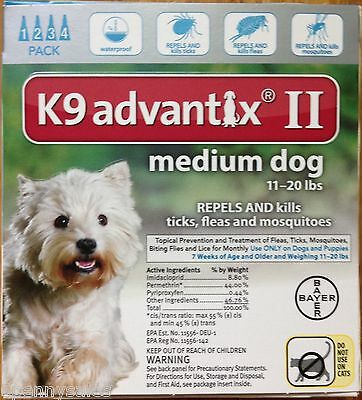 K9 Advantix II Flea Medicine Medium Size Dog 4 Month Supply Pack K-9 11-20 Teal