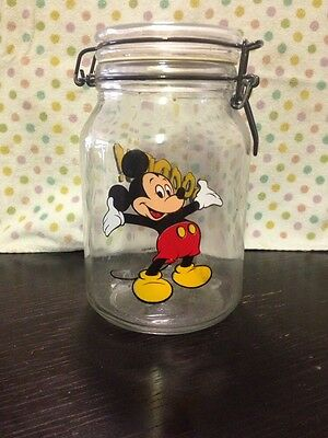 Mickey Mouse Glass Cookie Jar Vintage