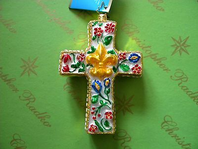 Christopher Radko Yellow Faith Of The Ages Glass Ornament