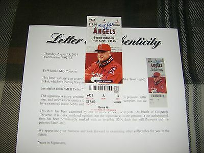 "Mike Trout Signed Inscribed ""mlb Debut 7-8-11"" Game Ticket Stub Psa Loa Baseball"