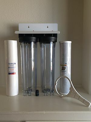 "Dual Big Blue Water Filter Clear Housing 4.5""x20"" 1""npt. 1Sediment & 1Carbon"