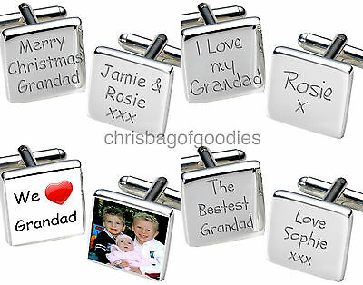 PERSONALISED I WE LOVE MY OUR GRANDAD Cufflinks Gifts for Birthday Fathers Day