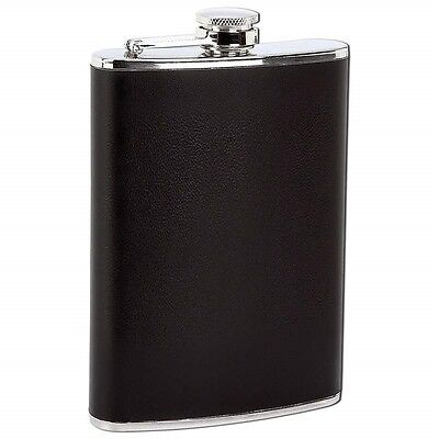 BLACK WRAP 8 oz Stainless Steel FLASK Screw Down Cap Liquor Alcohol Hip Pocket