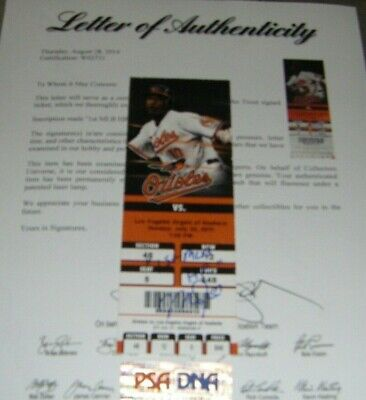 """Mike Trout Signed Inscribed """"1St Mlb Hr"""" Home Run Ticket Stub Psa Letter Coa"""