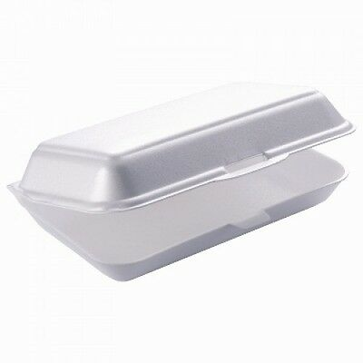 "250 x 9"" White Takeaway Fast Food Foam Burger Boxes HP3 / FP10 - Chips Meal Box"