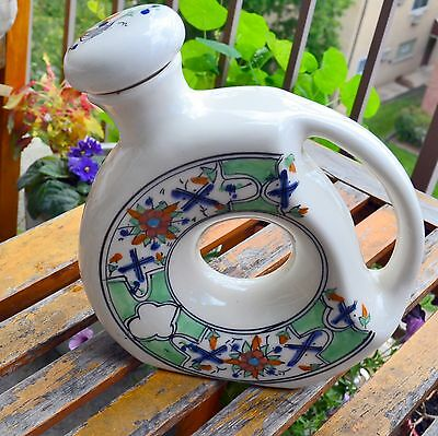 "Decorative Round Donut Shaped Wine Jug? W/ Handle Middle Eastern? Pottery 7-8"" H"