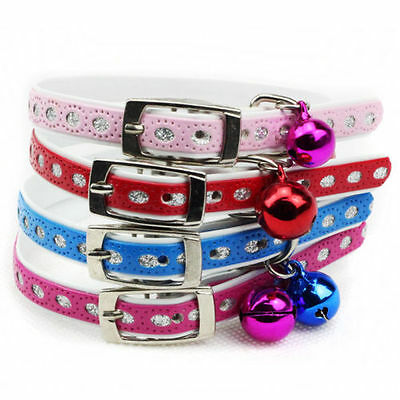 Dog Cat Pet Leather Brilliant Collar With Bell Design Various Color For Puppy
