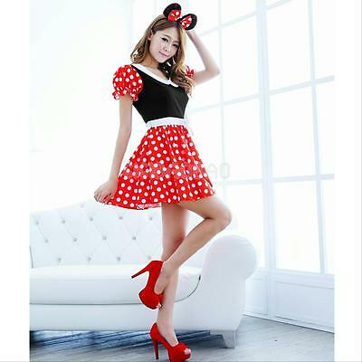 #gib Sexy Christmas Minnie Mouse Women Xmas Costume Cosplay Dress Up Outfit Ear