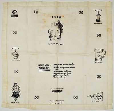 The Official Ancient Order of Froth Blowers Handkerchief c1926 scarce