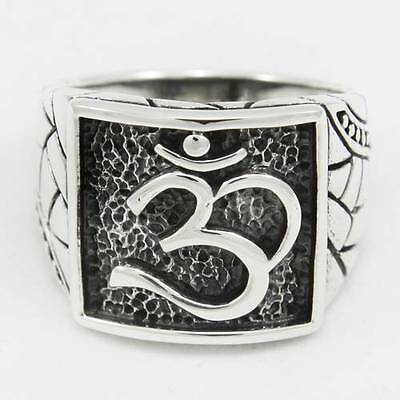 925 STERLING SILVER BLACK SQUARE OF 'OM' SACRED HINDU SYMBOL RING PERFORATE SIDE