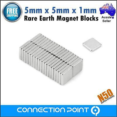 150x Rare Earth Magnets 5mm x 5mm x 1mm Block N50 Neodymium Super Strong Fridge