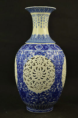 Rare Old Porcelain Painting Blooming Flower & Hollow Out Big Super Noble Vase