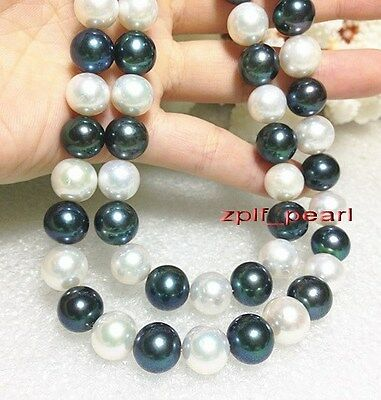 """AAAAA 35""""11-12mm REAL ROUND southsea white black multicolor pearl necklace 14K"""