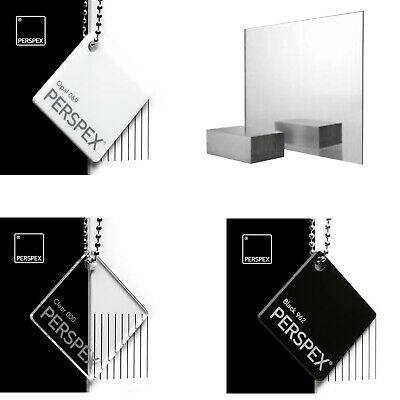 ACRYLIC PERSPEX MIRROR BLACK WHITE & CLEAR SHEET PLASTIC PANEL MATERIAL 2 3 5mm