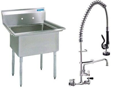 Stainless Steel (1) One Compartment Sink 22 X 20 with Pre-Rinse Faucet
