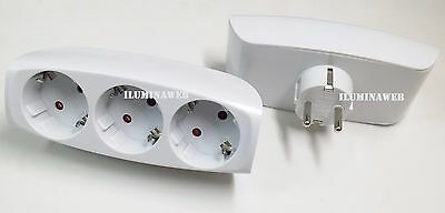 Ladron Regleta 3 enchufe Schuko Horizontal - Adaptador a Base multiple 3 Tomas